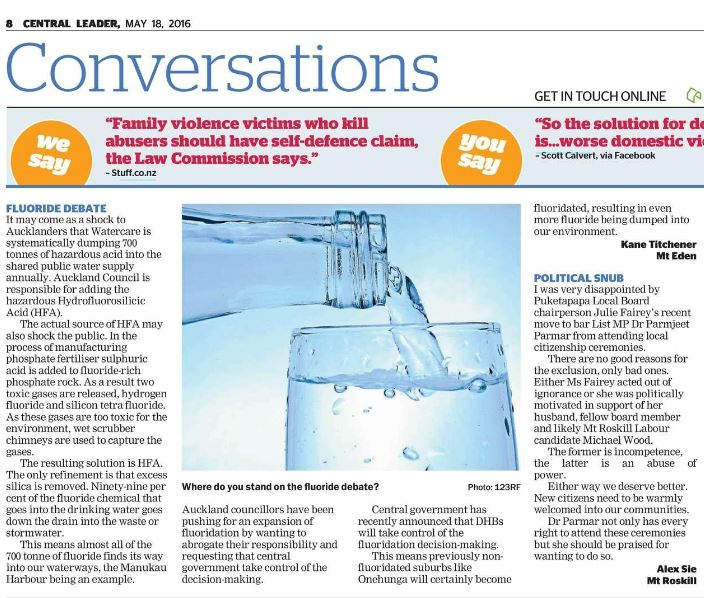 Write Letters to the Editor - fluoride free NZ